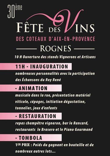 Programme Fête des Vins Coteaux d'Aix en Provence - Rognes le 18 mai 2014