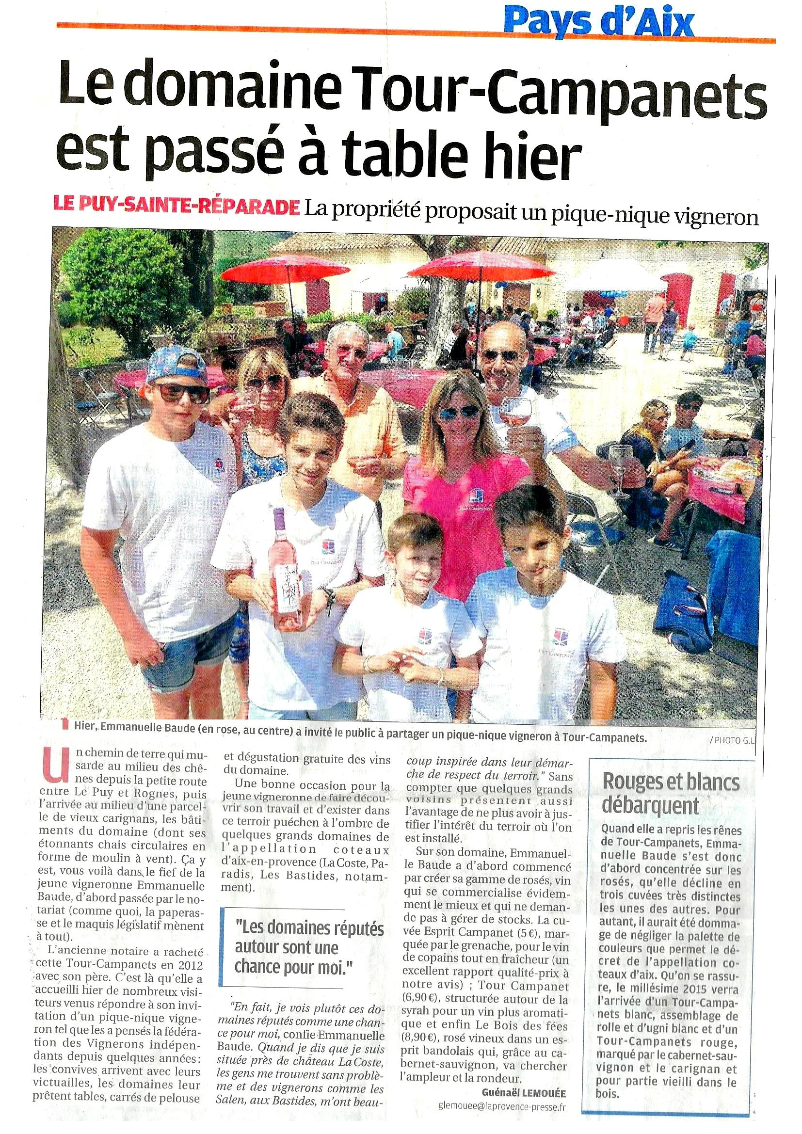 Article La Provence Pique Nique Domaine Tour Campanets