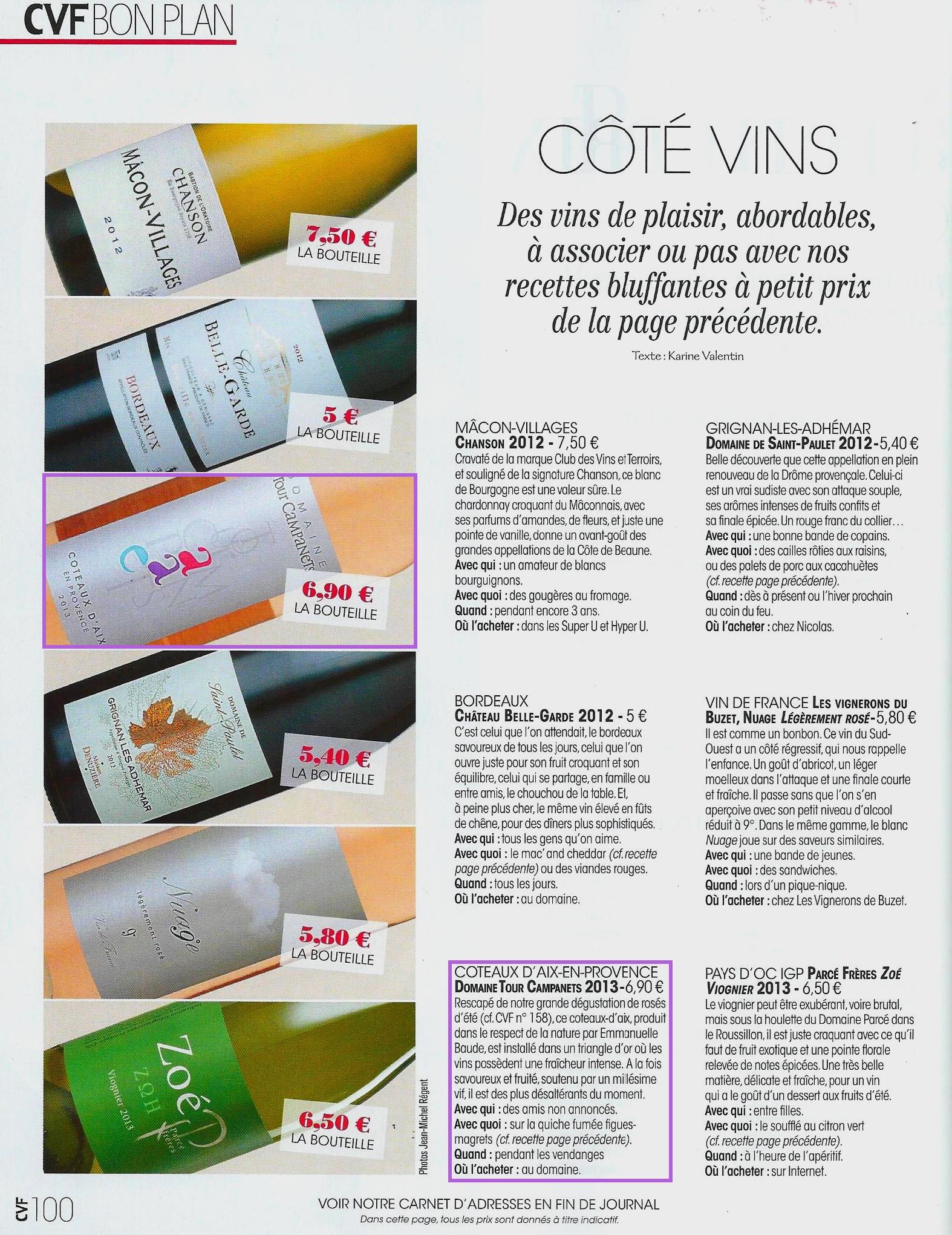 Article Tour Campanets dans Cuisine et Vins de France sept- oct 2014