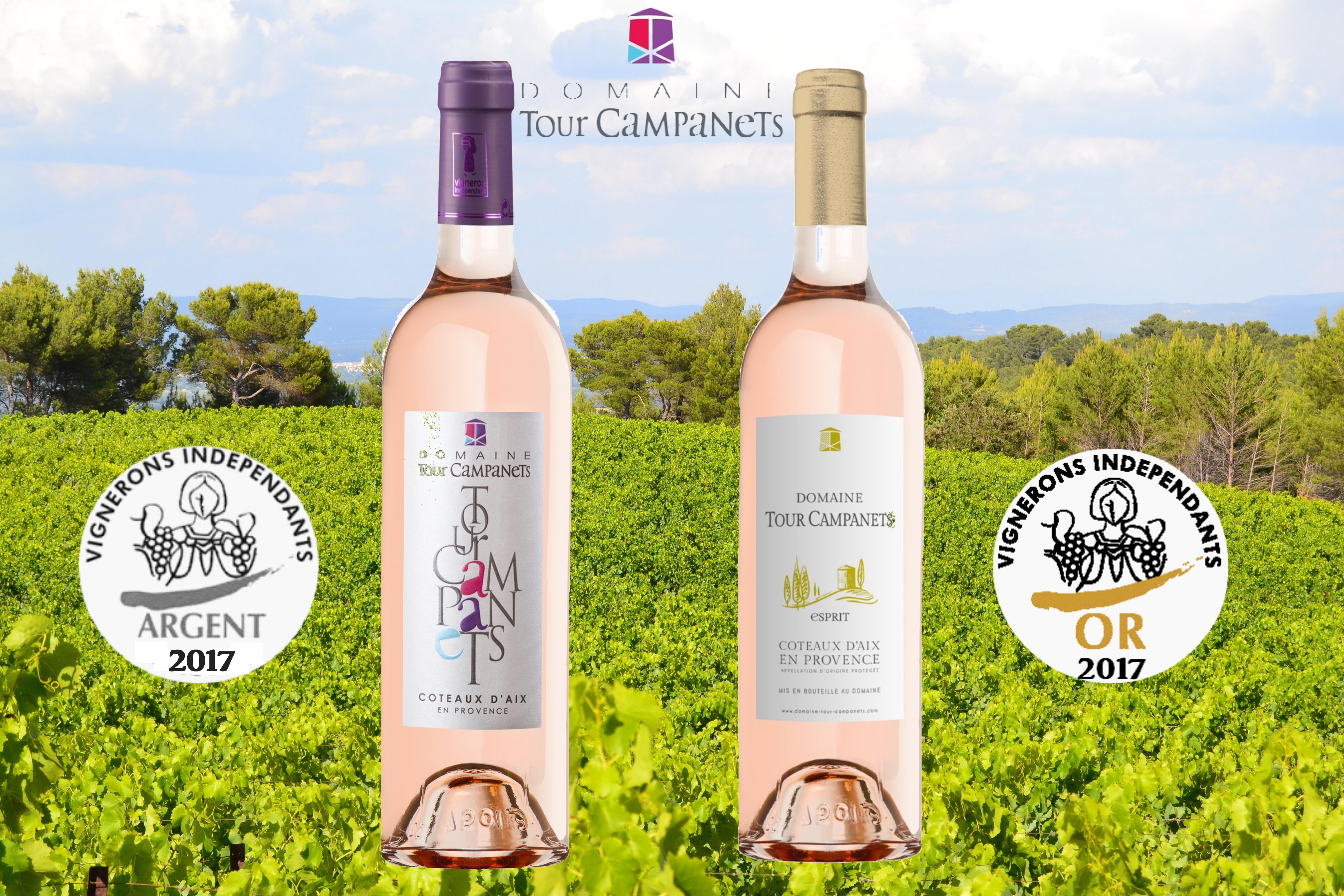 Concours des Vins de provence 2017 - médaille d'argent pour notre cuvée Tour Campanets Rosé 2016 et médaille d'Or pour notre cuvée Esprit Campanets Rosé 2016 - Vins de Provence - Vignerons indépdendants BIO