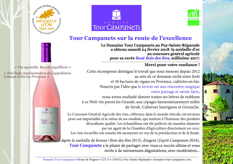 médaille d'or au concours général agricole pour notre cuvée Rosé Bois des fées, millésime 2017.