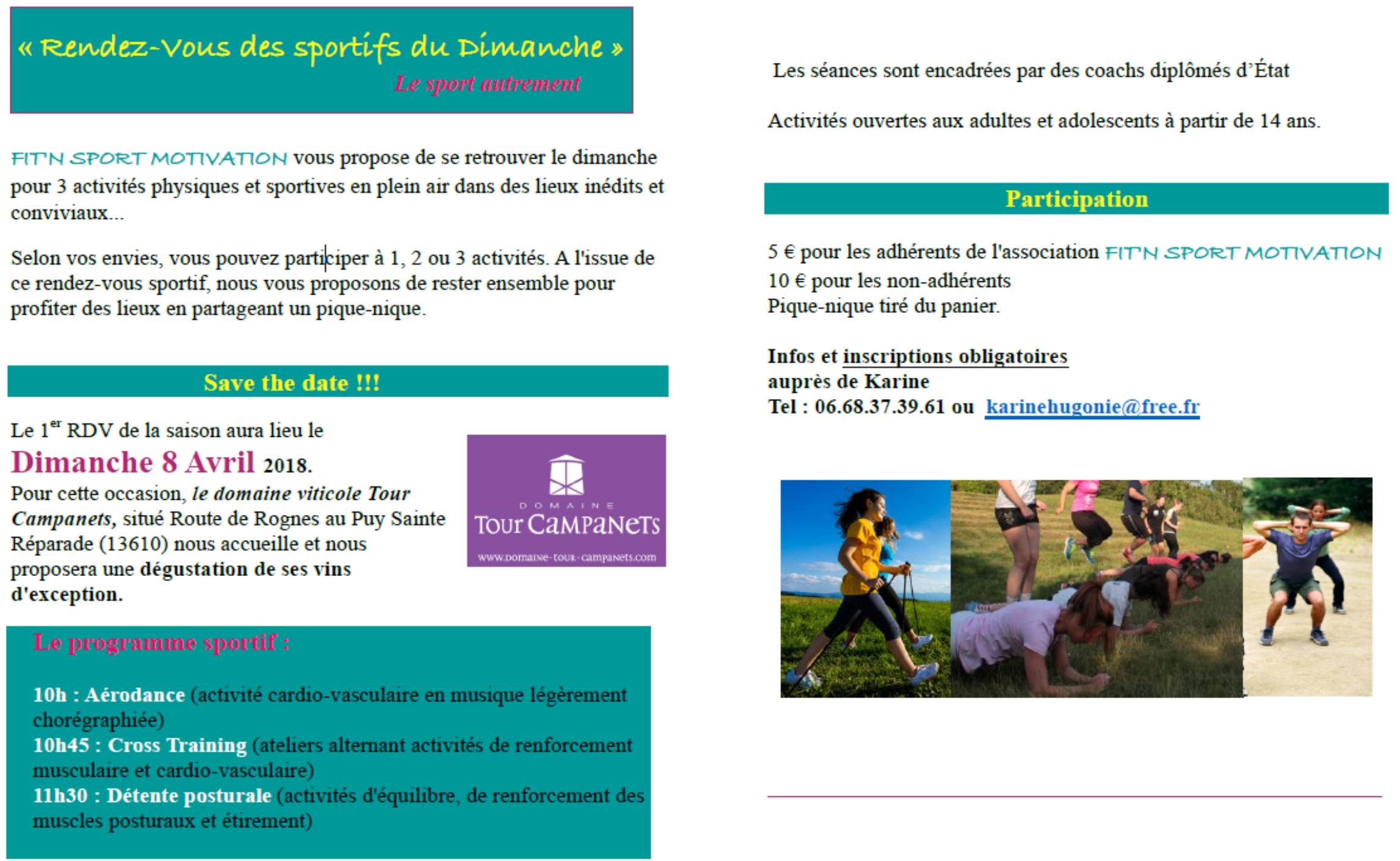 """1er """"RdV sportif du Dimanche """" organisé par Fit'n Sport Motivation le 8 avril au Domaine Tour Campanets"""