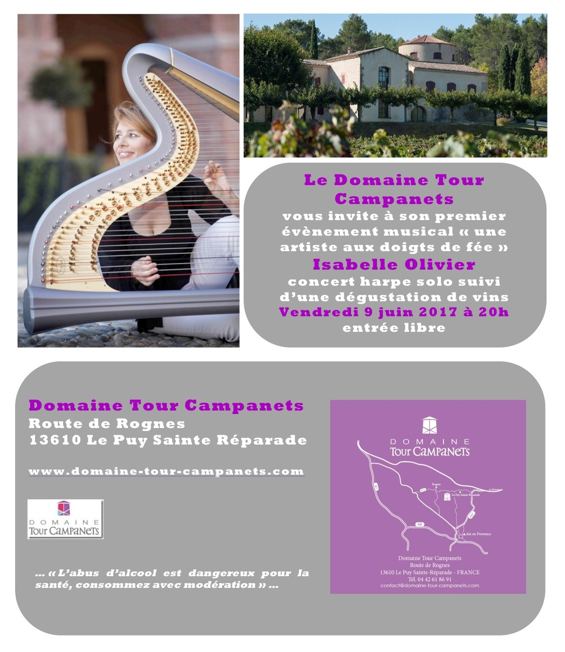 Evènement Musical concert de harpe au DOMAINE TOUR CAMPANETS vendredi 9 juin 2017