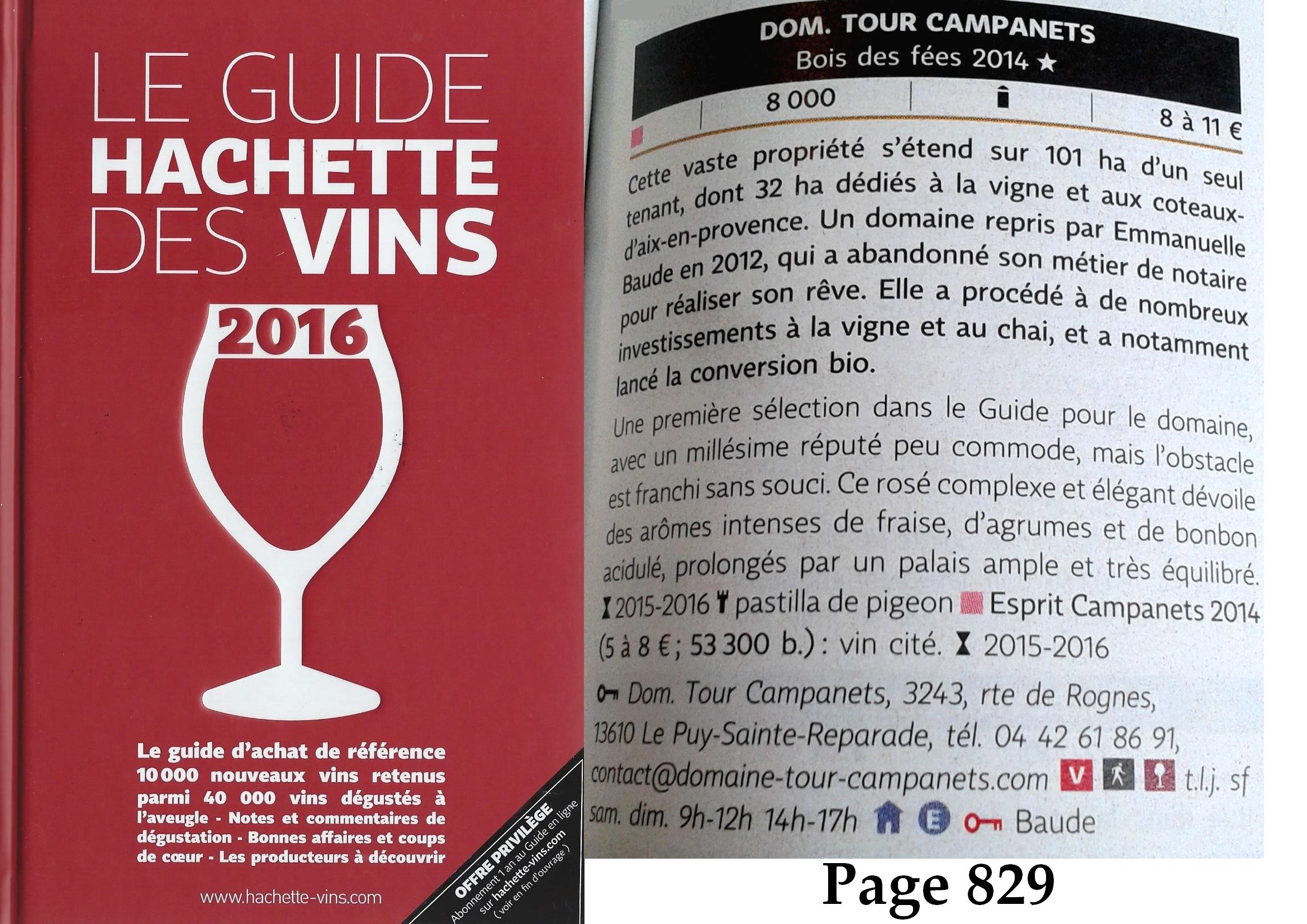 Domaine Tour Campanets - Guide Hachette des Vins 2016 !