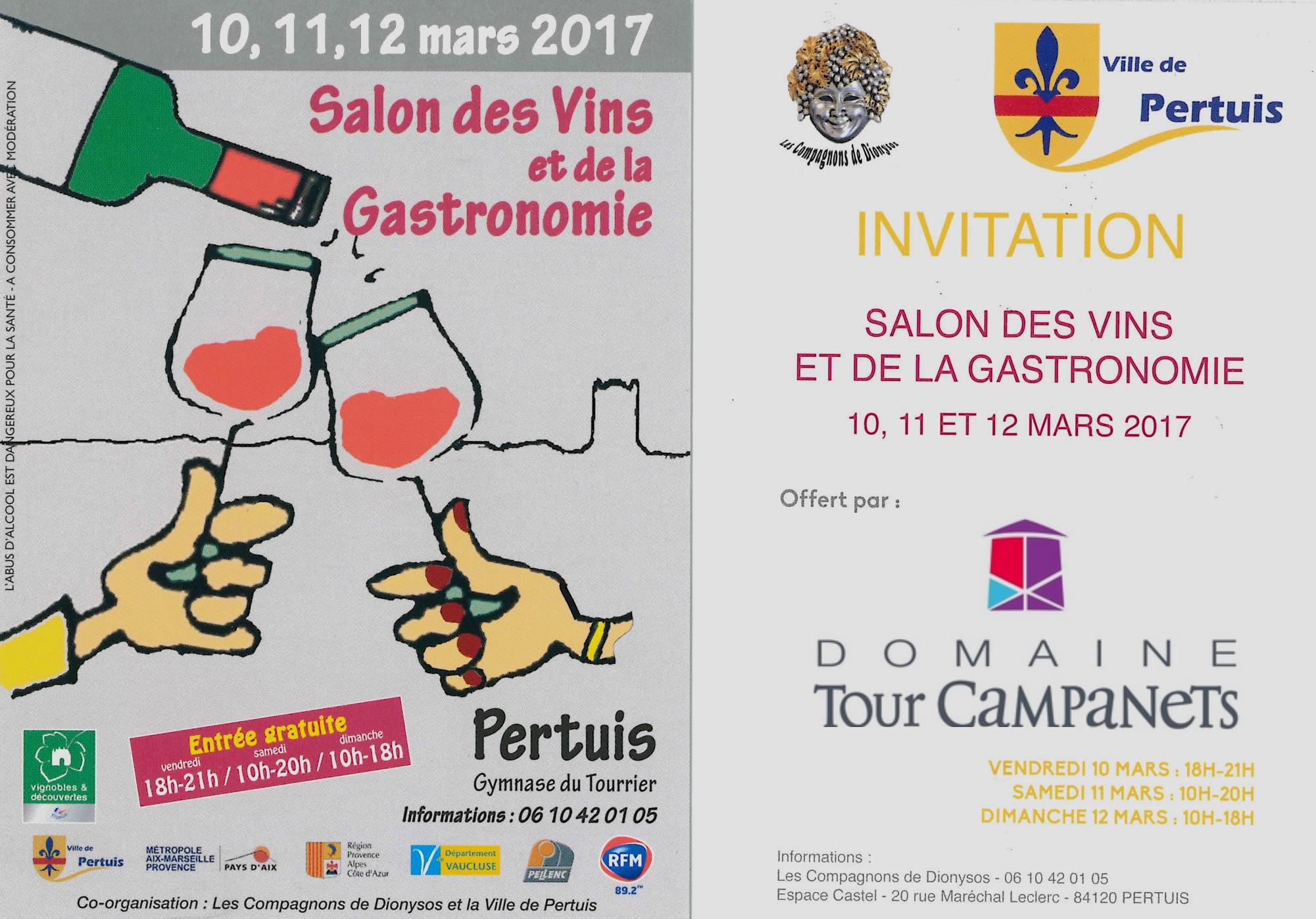 Retrouvez-nous vendredi 10, Samedi 11 et Dimanche 12 Mars 2017 au Salon des Vins et de la Gastronomie de PERTUIS.