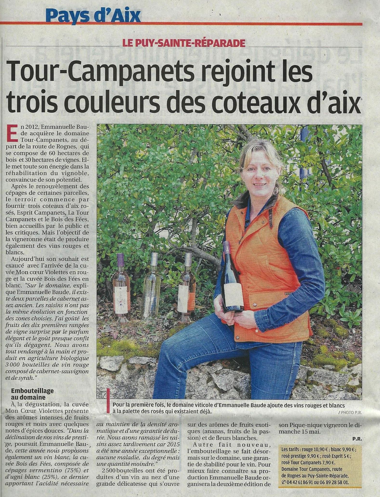 Article dans la Provence le 12.02.16 page 8
