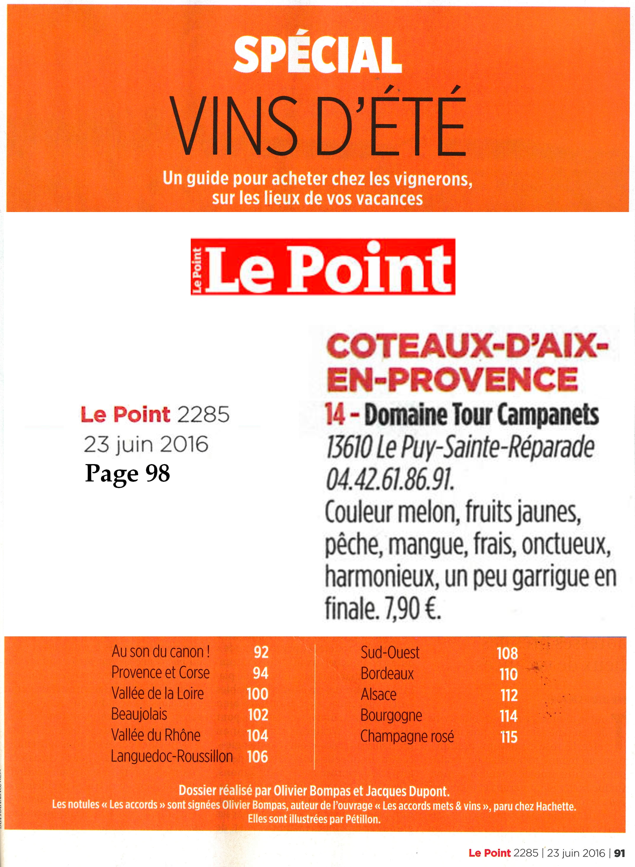 MAGAZINE LE POINT N°2285 DU 23 JUIN 2016 DOMAINE TOUR CAMPANETS
