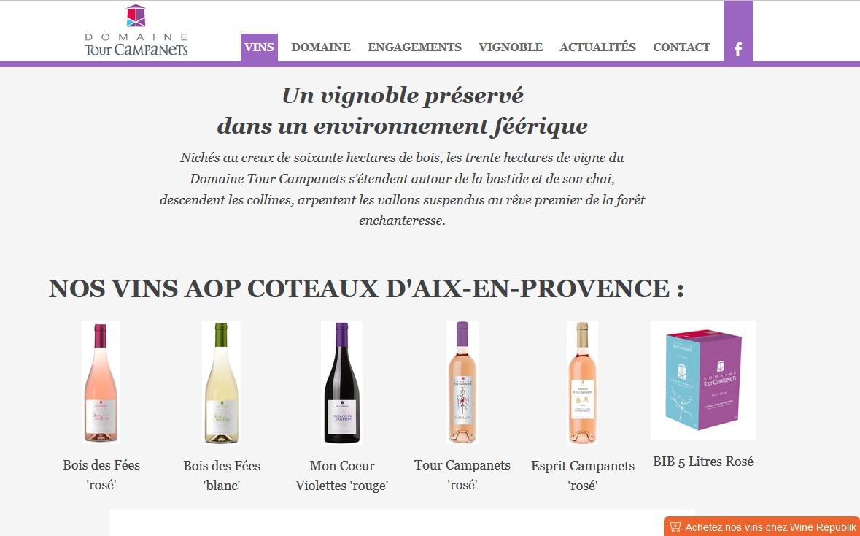 Commandez les vins du Domaine Tour Campanets :cliquez sur l'onglet orange en bas à droite