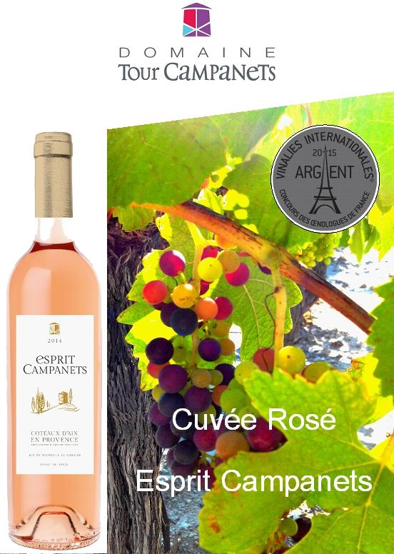 Cuvée Esprit Campanets Rosé 2014 médailles d'Argent au concours des Vinalies Internationales et médaille d'Or au concours des Vins d'Avignon