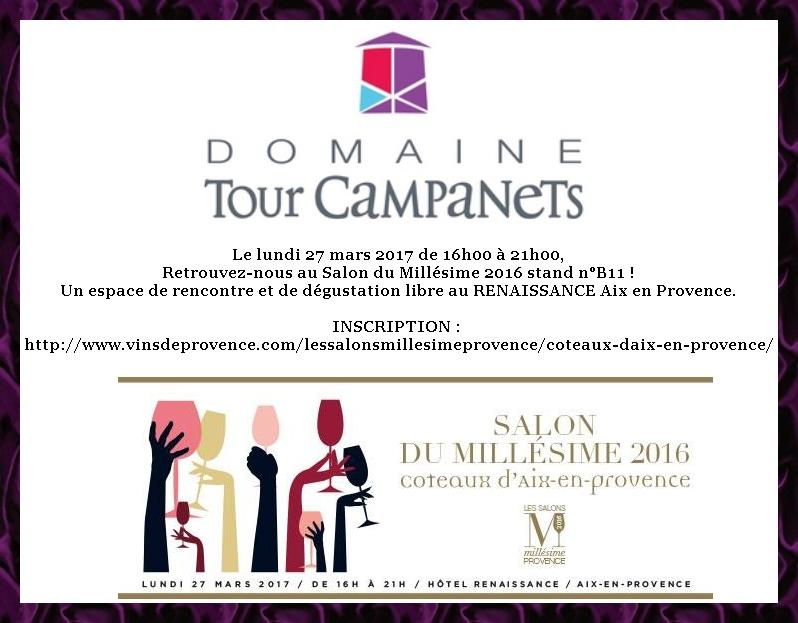 Retrouvez nous lundi 27/03/2017 à la présentation du millésime des coteaux d'Aix-en-Provence sur notre stand n°B11 à l'hôtel Renaissance d'Aix-en-Provence
