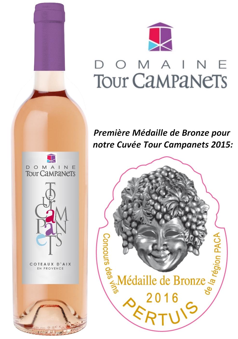 Médaille de bronze Cuvée Tour Campanets 2015 Concours des vins Les Compagnons de Dionysos