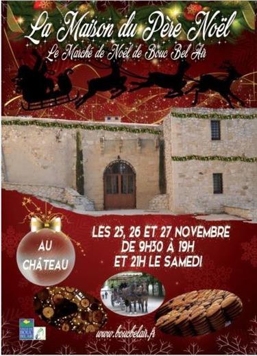Retrouvez nous les 25,26,27 novembre 2016 au Château de Bouc Bel Air pour visiter la Maison du Père Noël et y découvrir le Marché de Noël de Bouc Bel Air.